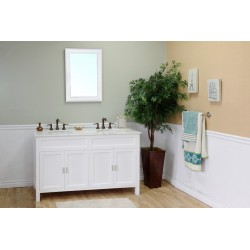 Bellaterra 600168 60 In Double Sink Vanity-Wood-White - 60x22x36""