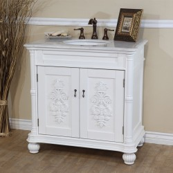 Bellaterra 602335 36 In Single Sink Vanity-White-White Marble - 36x22x36""