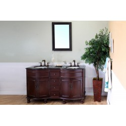 Bellaterra 603316 62 In Double Sink Vanity-Wood-Walnut-Travertine - 62x22x36""