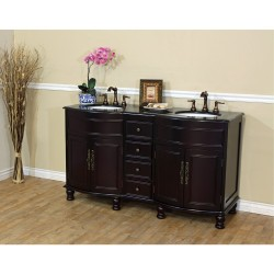 Bellaterra 603316 62 In Double Sink Vanity-Dark Mahogany-Black Galaxy - 62x22x36""