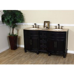 Bellaterra 603316 62 In Double Sink Vanity-Dark Mahogany-Travertine - 62x22x36""