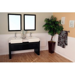 Bellaterra 804375 57.75 In Double Sink Vanity-Wood-Black - 57.75x20x33.5""