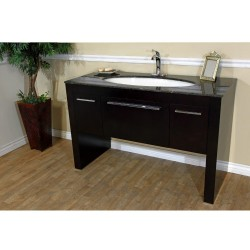Bellaterra 804380 55.3 In Single Sink Vanity-Dark Walnut-Tan Brown Marble - 55.3x23.6x36""