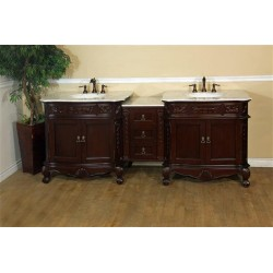 Bellaterra 202016A 82.7 In. Double Sink Vanity-Walnut-White Marble - 82.7x23.6x36""