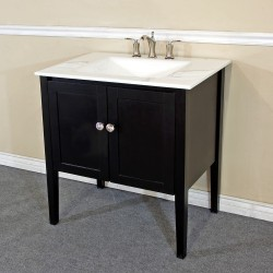Bellaterra 203054 33.5 In Single Sink Vanity-Wood-Espresso-White Phoenix Top - 33.5x21.5x36""
