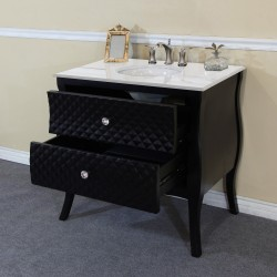 Bellaterra 203057B 35.4 In Single Sink Vanity-Wood-Black-White Phoenix Stone Top With Rectanglar Sink - 35.4x22x36""