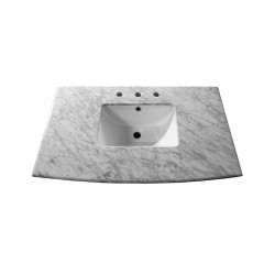 Bellaterra 7612 36 In. White Carrara Marble Counter Top With Rectanglar Sink - 36x22.8x8.5""