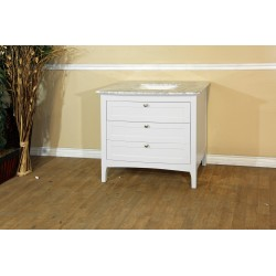 Bellaterra 7612 35 In Single Sink Vanity-Wood-White Cabinet Only - 35x22.3x34.5""