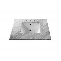 Bellaterra 7613 30 In. White Carrara Marble Counter Top With Rectanglar Sink - 30x21.8x8.5""