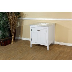 Bellaterra 7613 29 In Single Sink Vanity-Wood-White Cabinet Only - 29x21.3x34.5""