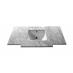 Bellaterra 7614 45 In. White Carrara Marble Counter Top With Rectanglar Sink - 45x22.2x8.5""