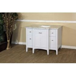 Bellaterra 7614 44 In Single Sink Vanity-Wood-White Cabinet Only - 44x21.7x34.5""