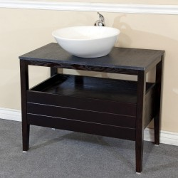 Bellaterra 804357 35.5 In Single Sink Vanity-Wood-Dark Mahogany - 35.5x19x36""