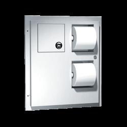 ASI 04813 Toilet Tissue Dispenser / Napkin Disposal (Dual Access) – Partition Mounted