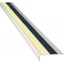 "American Permalight 83-40447L 2-5/8"" x 48"" Extruded 90deg. Angled Aluminum Stair Nosing - Photoluminescent"