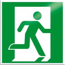 American Permalight UL1994-Listed Emergency Exit Symbol, Photoluminescent Aluminum