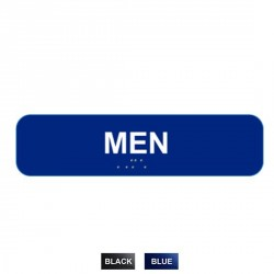 "Cal-Royal M-1346 Men with Braille Text 1 3/4"" x 6"" Sign"