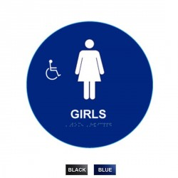 "Cal-Royal GHS4 Girls Sign Raised and Braille 12"" Circle"