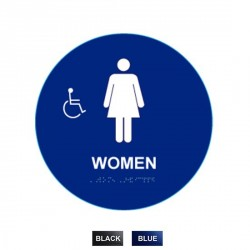 "Cal-Royal WHS-5A Women Sign Raised and Braille and Handicap Logo 12"" Circle"