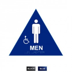 "Cal-Royal MHS-6A Men Sign Raised and Braille and Handicap Logo 10 1/2"" High Triangle"