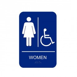 "Cal-Royal CAWH69 Women Handicap with Braille Pictogram Text 6"" x 9"" Sign Blue"