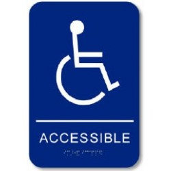 "Cal-Royal CACCS69 Handicap Accessible with Braille Pictogram Text 6"" x 9"" Sign Blue"