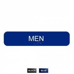 "Cal-Royal CAM1348 Men with Braille Text 1 3/4"" x 8"" Sign Blue"