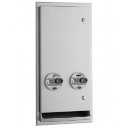 Bobrick ClassicSeries, Recessed or Semi-Recessed, Napkin/Tampon Vendor, Token Operation