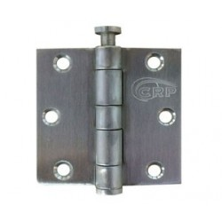 "Cal-Royal LTBHSC-33 Full Mortise Residential Weight Plain Bearing Square Corner 3"" x 3"", 0.080"" Gauge in Satin Stainless Steel"
