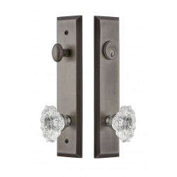 Grandeur Hardware Fifth Avenue Tall Plate Complete Entry Set w/ Biarritz Knob
