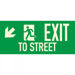 American Permalight 86-60337 EXIT TO STREET Photoluminescent Aluminum Signage for New York City