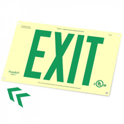 "American Permalight Photoluminescent Rigid PVC Plastic EXIT Signs 6"", Unframed w/ 4 Mounting Holes"
