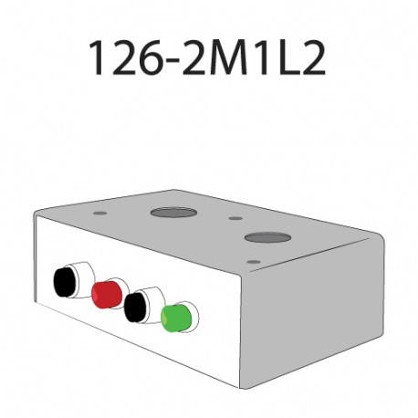 Deltrex 126-2M1L2 Series Coordinated Snap-Action Momentary Push Call Button Activator with Two Black, one Red, and one Green LED