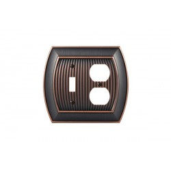 Amerock BP36538 Allison 1 Toggle 2 Plug Wall Plate, Oil-Rubbed Bronze Allison