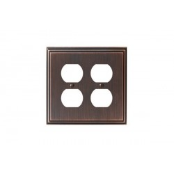 Amerock BP36523 Mulholland 4 Plug Outlet Wall Plate, Oil-Rubbed Bronze Mulholland
