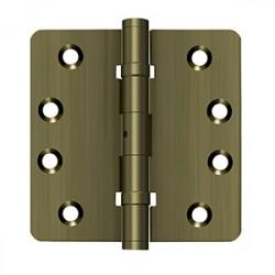 "Deltana 4""X 4""X 1/4"" Radius Hinge, Ball Bearings, NRP, Solid Brass"