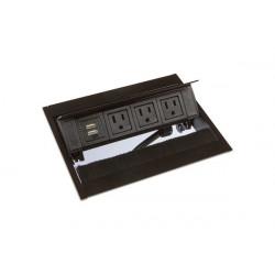 Mockett PCS50BU1 Pop-Up Power Grommets with Brush Liner (3 Power / Dual USB)