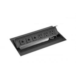 Mockett PCS50D Pop-Up Power Grommets with Brush Liner (3 Power / 3 Data)