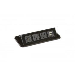 Mockett PCS68/2E/U1 Flip-Up Power Grommets - 2 Power/Dual USB/1 Data