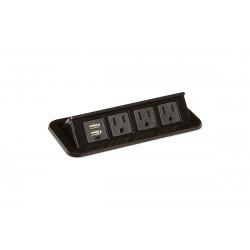 Mockett PCS68/3E/U1 Flip-Up Power Grommets - 3 Power/Dual USB