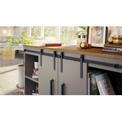 Mockett SDH4-90 Barn Door Hardware Miniature Cabinet Sliding Door Sets, Black