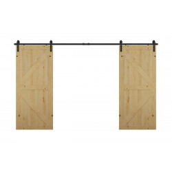 Mockett SDH3-90 Barn Door Hardware Double Sliding Doors, Black