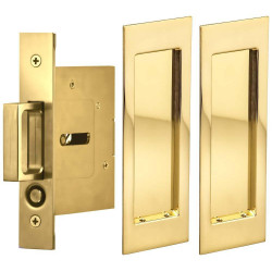 Omnia 7035/N Passage Pocket Door Lock w/ Modern Rectangular Trim featuring Mortise Edge Pull
