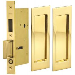 Omnia 7035 Series Pocket Door Lock with Modern Rectangular Trim