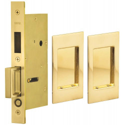 Omnia 7036 Series Pocket Door Lock with Modern Rectangular Trim