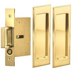 Omnia 7037/N Passage Pocket Door Lock w/ Traditional Rectangular Trim featuring Mortise Edge Pull