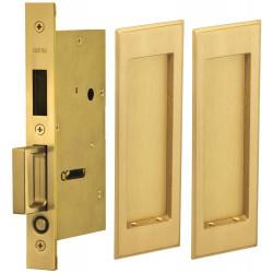Omnia 7037 Series Pocket Door Lock with Modern Rectangular Trim