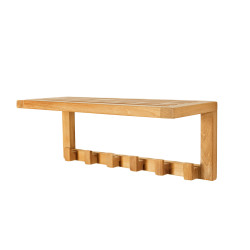 ARB Teak ACC58 SpaTeak Wall Bath Shelf w/ Hooks