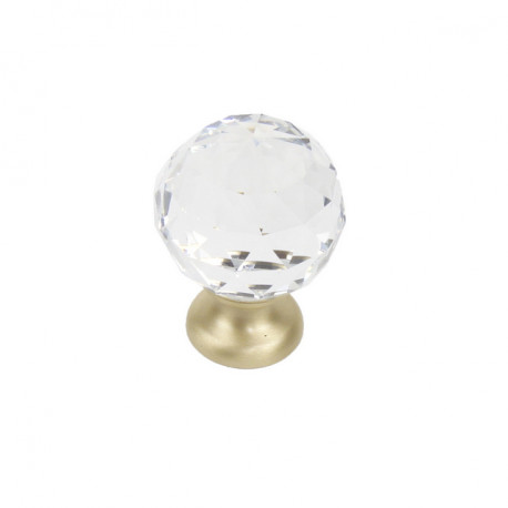 Century 18905 Glamour Glass Knob With Brass Base, 30 mm Diameter
