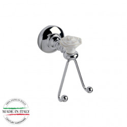 Century 81710-26W Rose Shaped Double Hook, Polished Chrome With White Rose